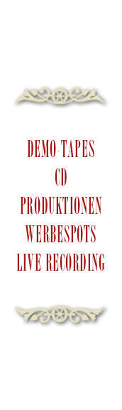 Demo-Tapes CD Produktionen Werbespots Live Recording
